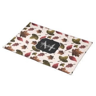 Sparkly leaves fall autumn pattern Monogram Placemat