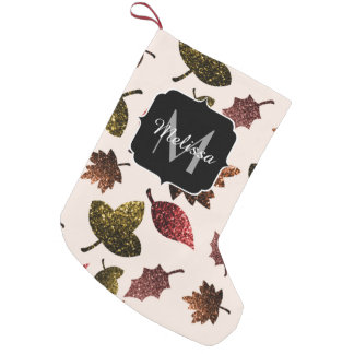 Sparkly leaves fall autumn pattern Monogram Small Christmas Stocking