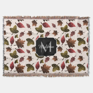 Sparkly leaves fall autumn pattern Monogram Throw Blanket