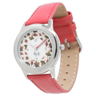 Sparkly leaves fall autumn pattern Monogram Watch