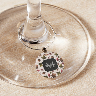 Sparkly leaves fall autumn pattern Monogram Wine Charm