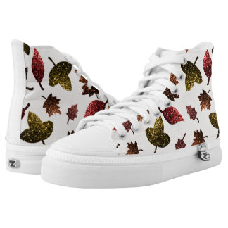 Sparkly leaves fall autumn sparkles pattern high tops