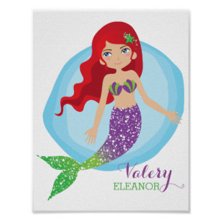 Sparkly Mermaid Personalized Poster