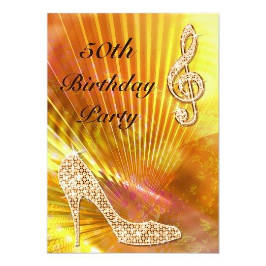 Sparkly Orange Music Note & Stiletto 50th Birthday Card