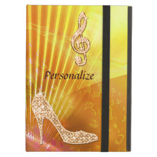 Sparkly Orange Music Note & Stiletto Heel iPad Air Cases