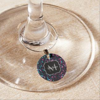 Sparkly pink blue mosaic glitter sparkles Monogram Wine Charm