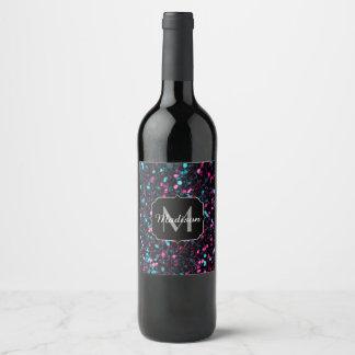 Sparkly pink blue mosaic glitter sparkles Monogram Wine Label