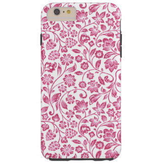 Sparkly Pink Floral on White Tough iPhone 6 Plus Case