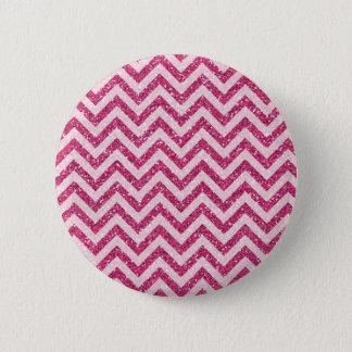 Sparkly Pink Glitter Chevron Stripe 6 Cm Round Badge