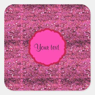Sparkly Pink Glitter Square Sticker