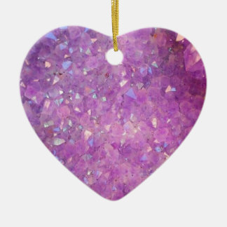 Sparkly Pinky Purple Aura Crystals Ceramic Heart Decoration