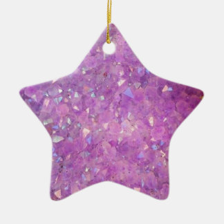 Sparkly Pinky Purple Aura Crystals Ceramic Star Decoration