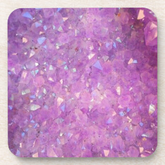 Sparkly Pinky Purple Aura Crystals Coaster