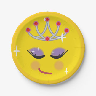 Sparkly Princess Emoji Paper Plate