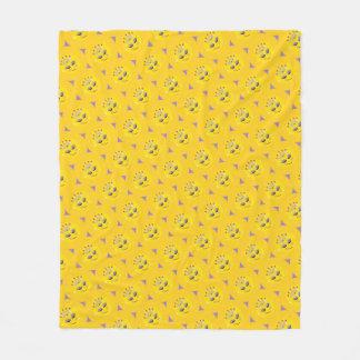 Sparkly Princess Emoji Pattern Fleece Blanket