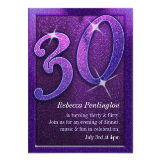 Sparkly Purple 30 and Flirty Birthday Invitations