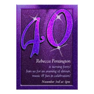 Sparkly Purple 40th Birthday Party Invitation