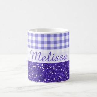 Sparkly Purple Glitter Gingham Pattern Custom Name Coffee Mug