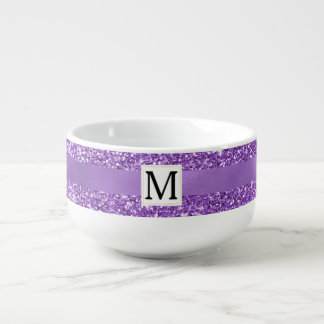 Sparkly Purple Glitz Monogram Soup Mug