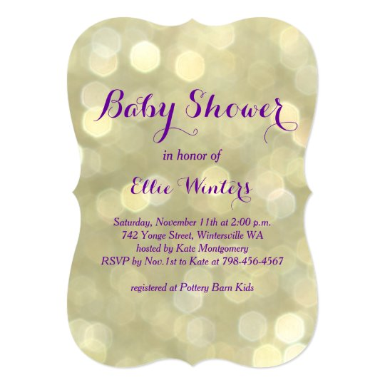 Sparkly Purple & Gold Baby Shower Invitation