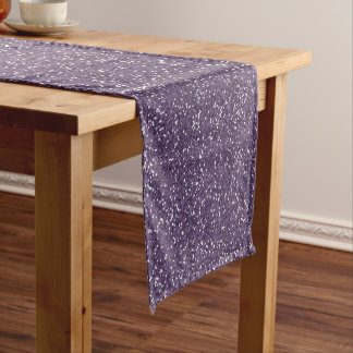 Sparkly Purple & Silver Glitter Short Table Runner
