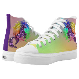 Sparkly Purple Unicorn Ombre Rainbow Printed Shoes
