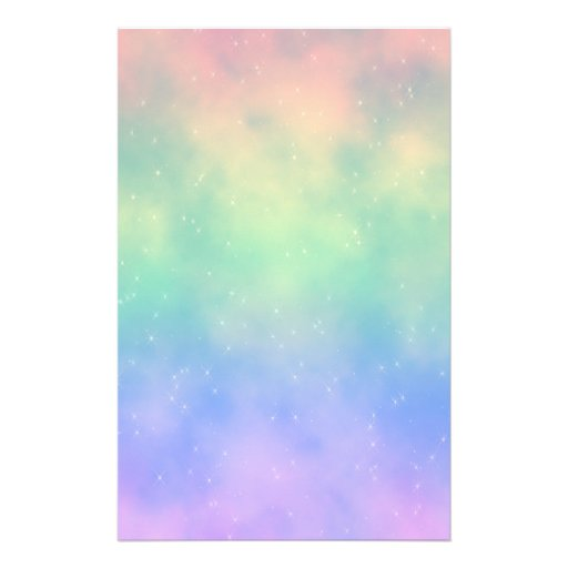 Sparkly Rainbow Clouds Stationery