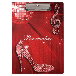 Sparkly Red Music Note & Stiletto Heel Clipboard