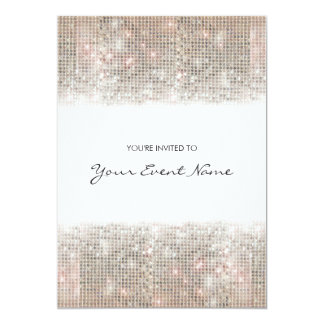 Sparkly Silver Faux Sequins Festive Party 13 Cm X 18 Cm Invitation Card