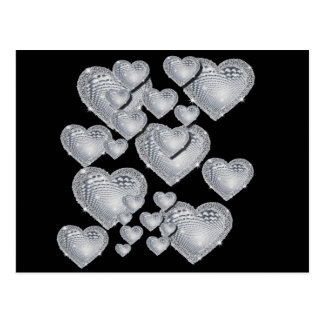 Sparkly silver hearts postcard