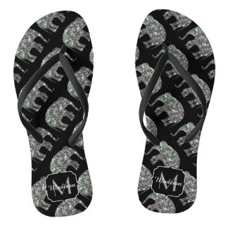 Sparkly silver mosaic Elephant pattern Monogram Thongs