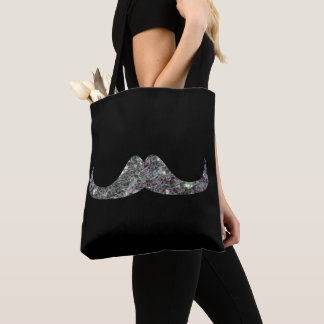 Sparkly silver mosaic Mustache on Black Tote Bag