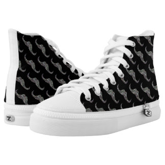 Sparkly silver mosaic Mustache pattern High Tops