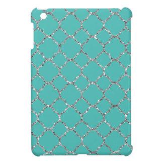 Sparkly Silver Quatrefoil Teal iPad Mini Case