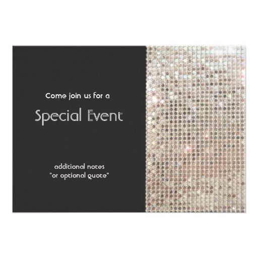 Sparkly Silver Sequins Festive Fun Party Announcement