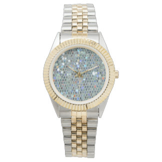 Sparkly Silver Slipper Glitzy Bling Wristwatch