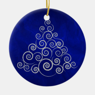 Sparkly Silver Swirl Holiday Tree Ceramic Ornament