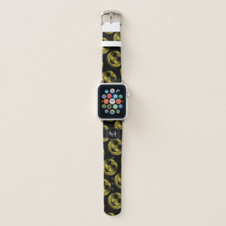 Sparkly Smiley Yellow Gold sparkles Black Monogram Apple Watch Band