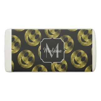 Sparkly Smiley Yellow Gold sparkles Monogram Eraser