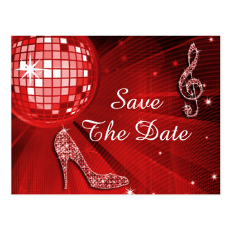 Sparkly Stiletto Heel 25th Birthday Save The Date Post Card