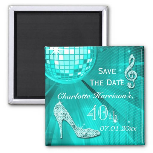 Sparkly Stiletto Heel 40th Birthday Save The Date Refrigerator Magnets