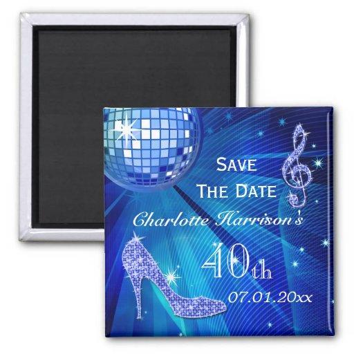 Sparkly Stiletto Heel 40th Birthday Save The Date Fridge Magnet