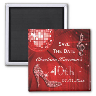 Sparkly Stiletto Heel 40th Birthday Save The Date Square Magnet