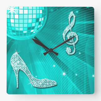 Sparkly Teal Music Note & Stiletto Heel Square Wall Clock