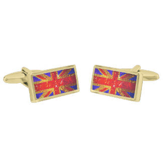 Sparkly UK Flag Cufflinks Gold Finish Cufflinks
