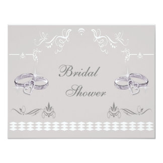 Sparkly Wedding Bands & Hearts Bridal Shower Card