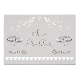Sparkly Wedding Bands & Hearts Save The Date Card