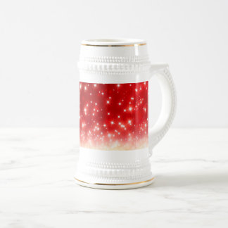 Sparkly White Snowflakes, Red - Christmas Beer Stein