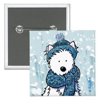 Sparkly Winter Westie Button