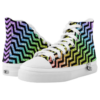 Sparkly Zig Zag Pride Rainbow LGBT High Tops